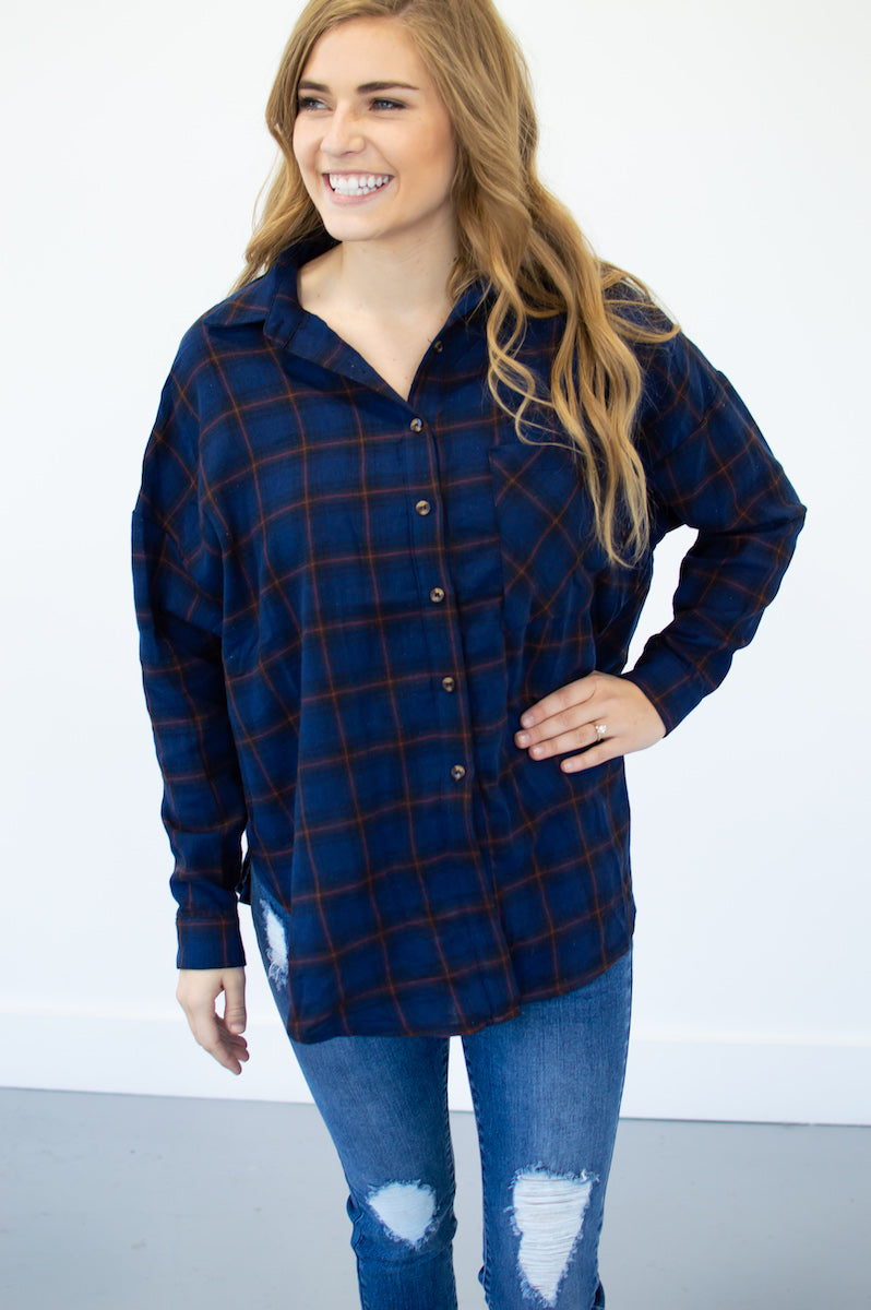 Fall Flannel Button Up | Navy