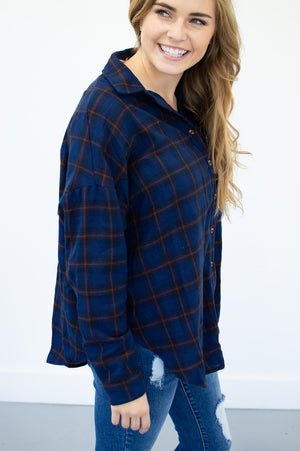 Fall Flannel Button Up | Navy - MOB Fashion Boutique
