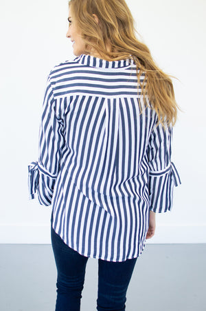 Navy Striped Flutter Sleeve Blouse - MOB Fashion Boutique