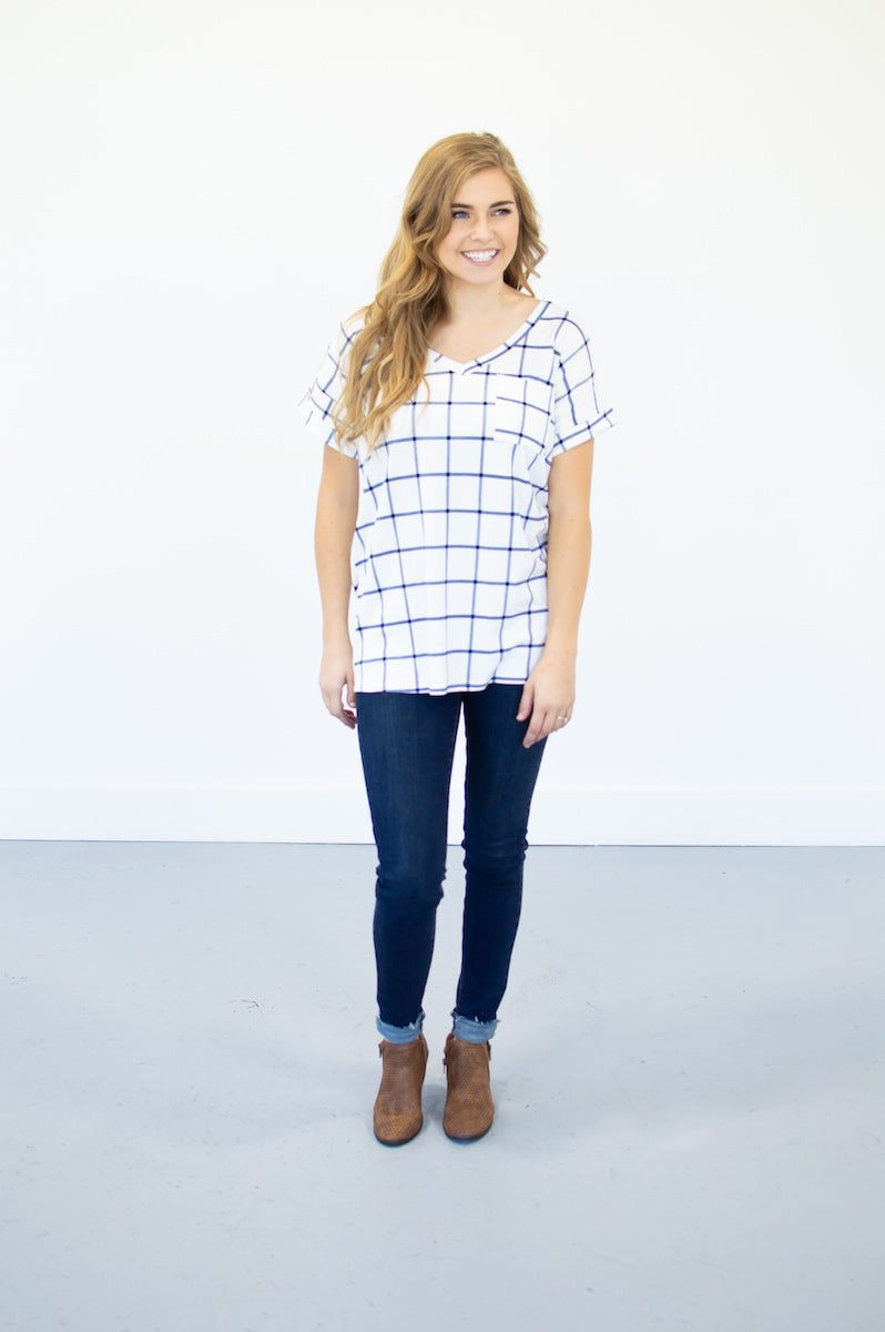 Checkmate Pocketed Tee - MOB Fashion Boutique