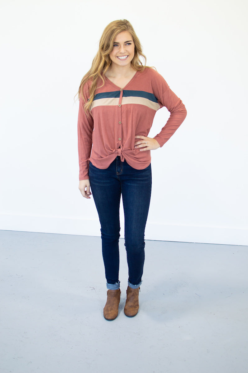 Thermal Knit Button Down Top | Marsala - MOB Fashion Boutique
