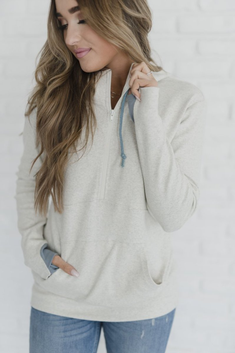 Carefree Half Zip | Oatmeal - MOB Fashion Boutique