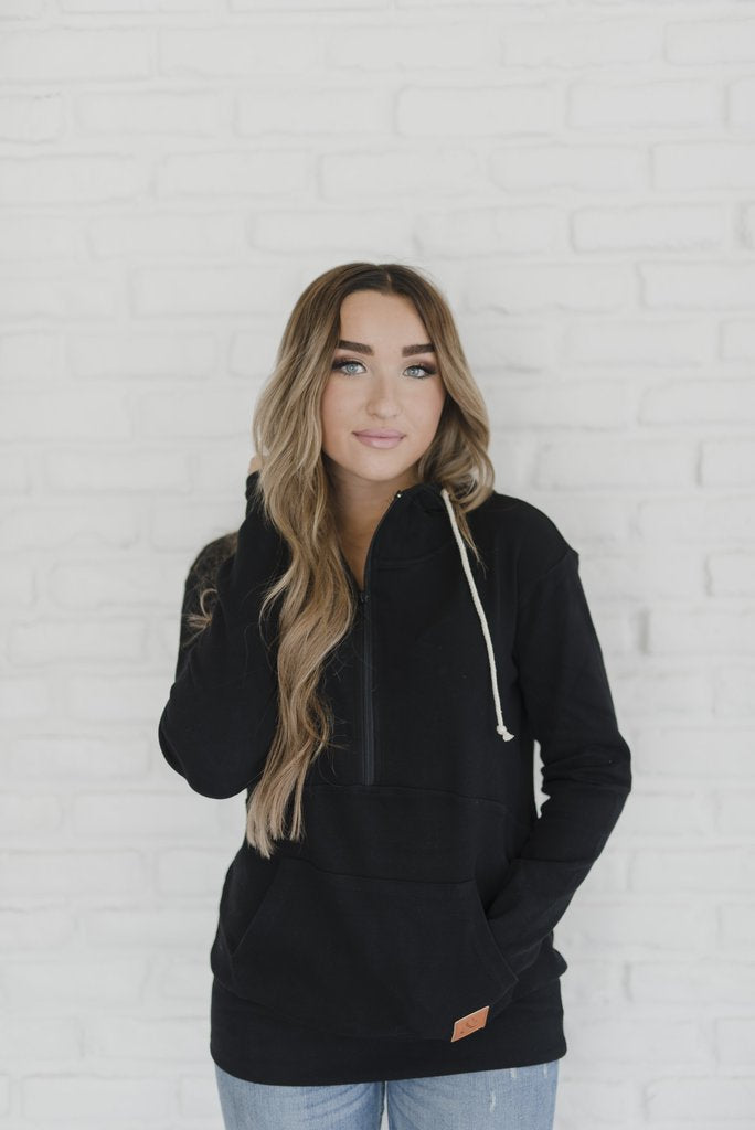 Carefree Halfzip Hoodie | Black - MOB Fashion Boutique