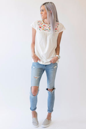 Embroidered Garden Top - MOB Fashion Boutique