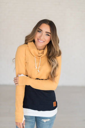 CowlNeck Sweatshirt | Mustard and Navy - MOB Fashion Boutique