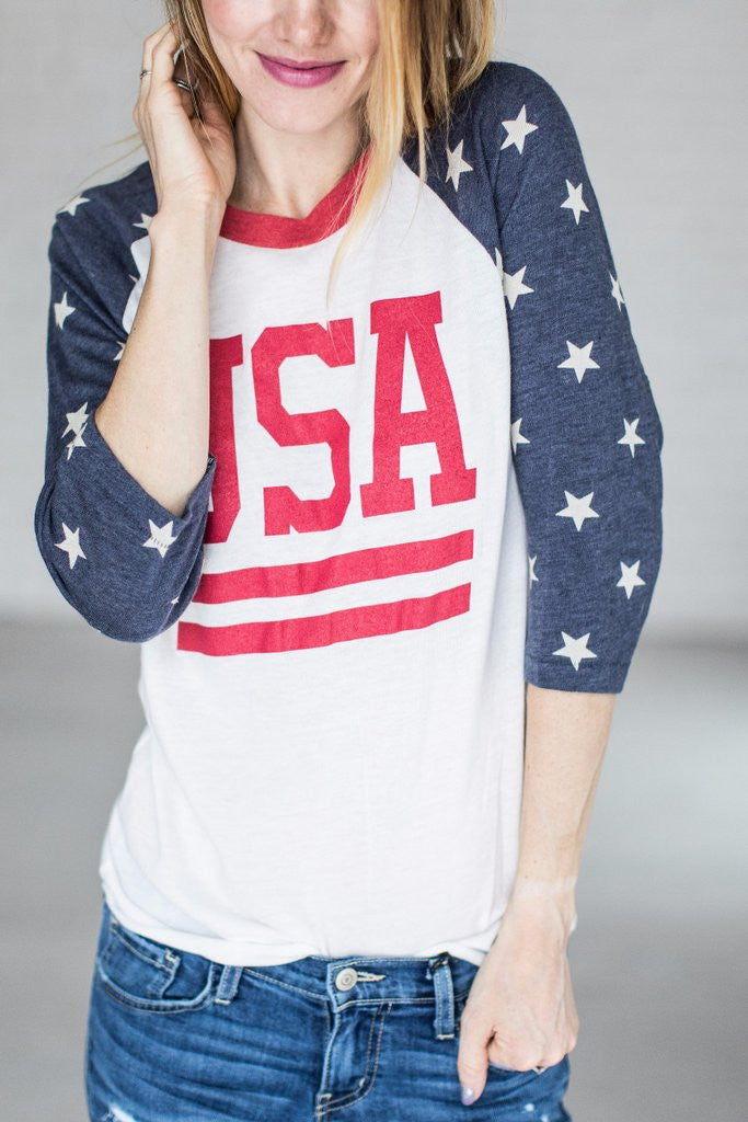 The Miracle USA Baseball Tee - MOB Fashion Boutique
