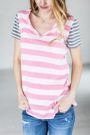 All the Stripes tee in Pink and Charcoal - MOB Fashion Boutique