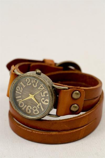 Leather Camel Wrap Watch - MOB Fashion Boutique