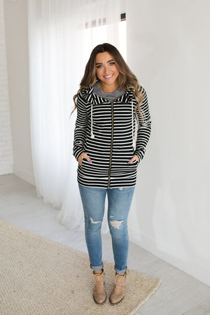 Full Zip Hoodie in Black Stripe - MOB Fashion Boutique