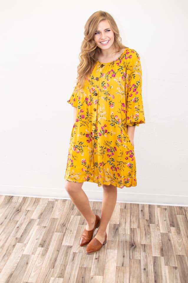Mustard Floral Bubble Sleeve Swing Dress - MOB Fashion Boutique
