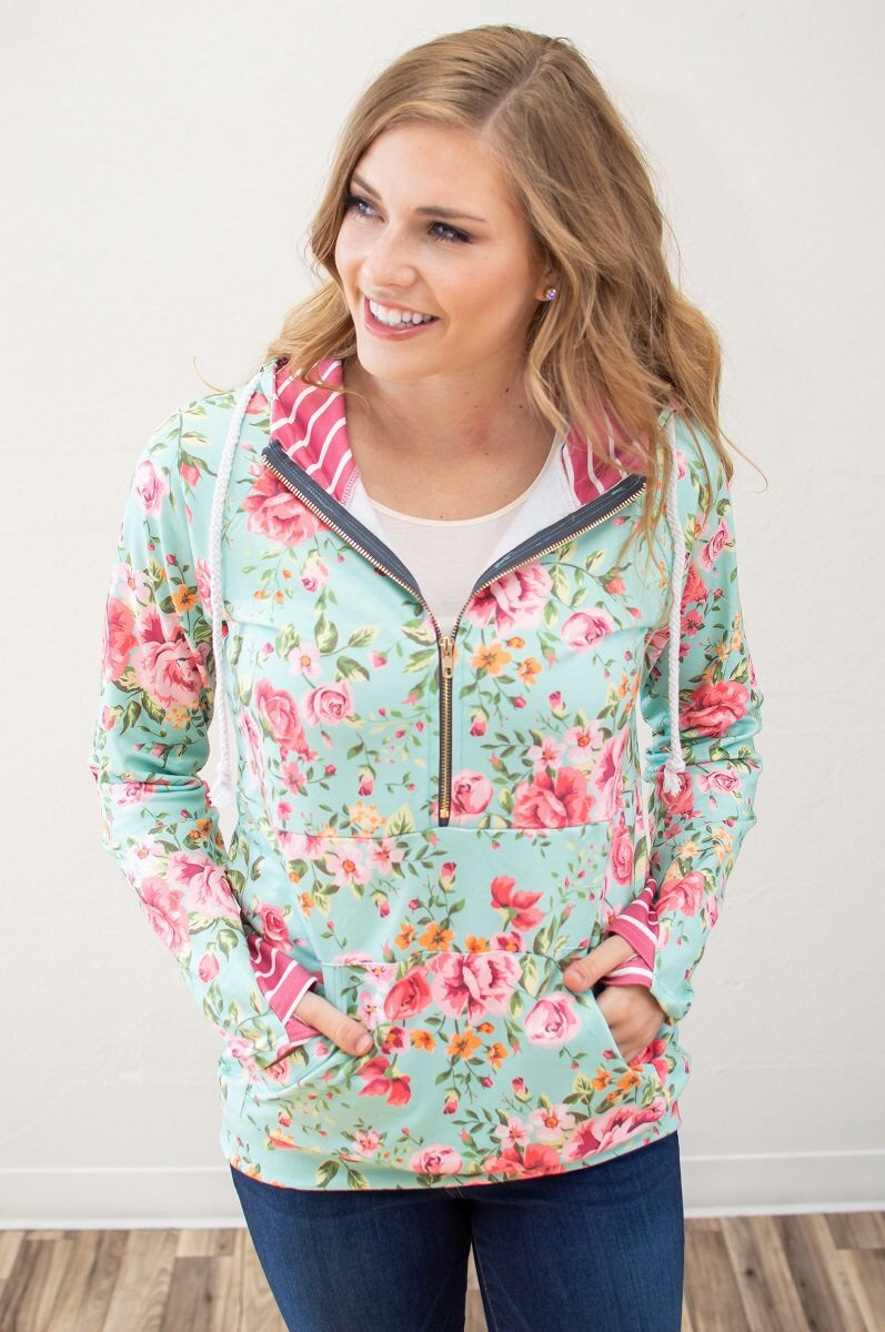 Floral Brights Spring Half Zip - MOB Fashion Boutique