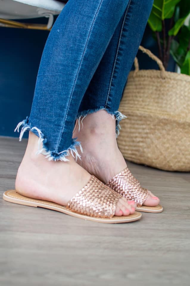 Summer Slides | Rose Gold Weave - MOB Fashion Boutique