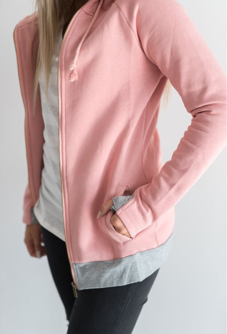 Perfectly Pink Full Zip Hoodie - MOB Fashion Boutique