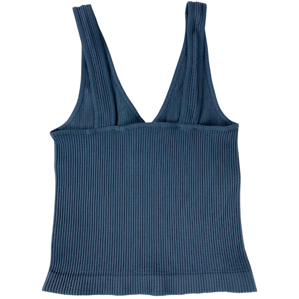 V Neck Ribbed Crop Top-Ink Blue