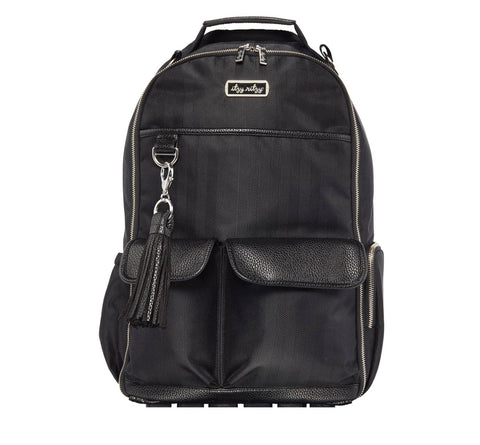 Black Herringbone Boss Backpack™ Diaper Bag