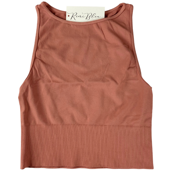 High Neck Crop Top-Ash Rose