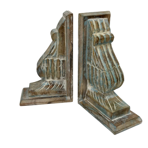 Set/2 Hand-Carved Wood Wall Brackets/Bookends