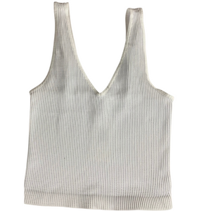 V Neck Ribbed Crop Top-White