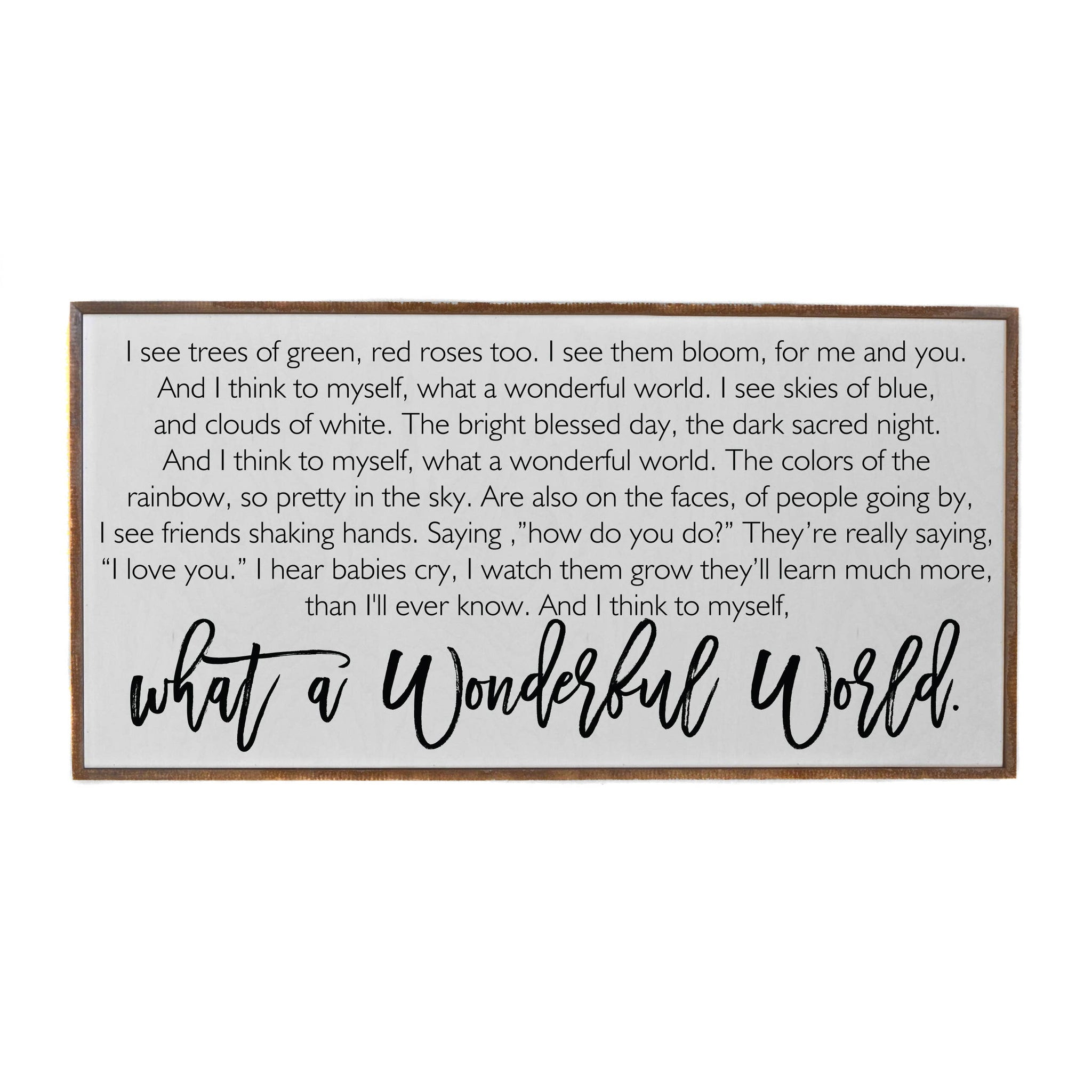 32x16 What A Wonderful World Horizontal Wood Sign