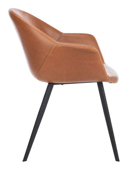 Dublin Midcentury Modern Leather Dining Tub Chair- Set of 2