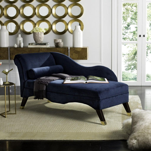 Caiden Velvet Chaise w/ Pillow - Navy