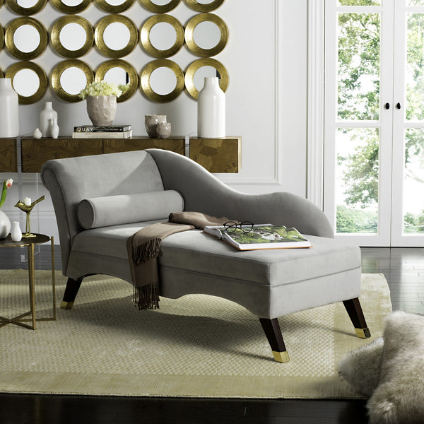 Caiden Velvet Chaise w/ Pillow - Grey
