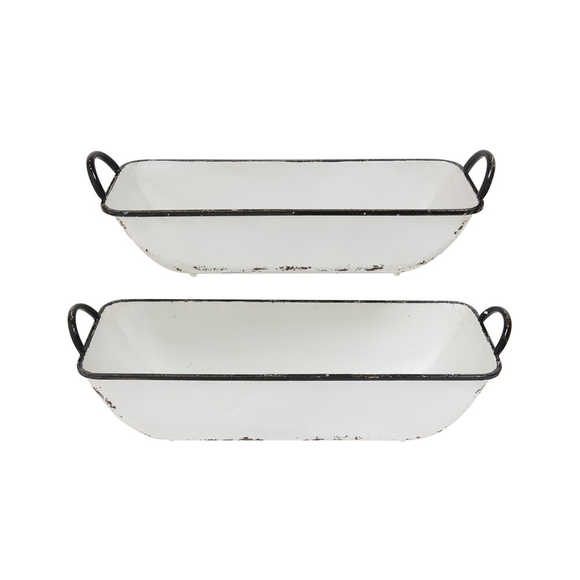 Decorative Metal Containers - White Distressed Enamel Finish