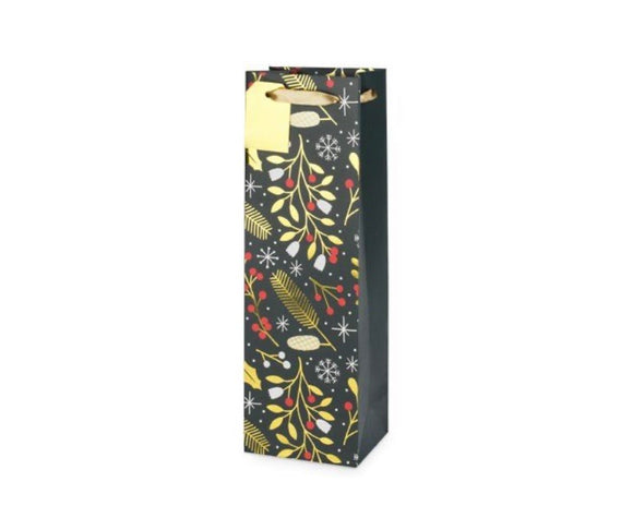 Holiday Holly Print Single Bottle Bag