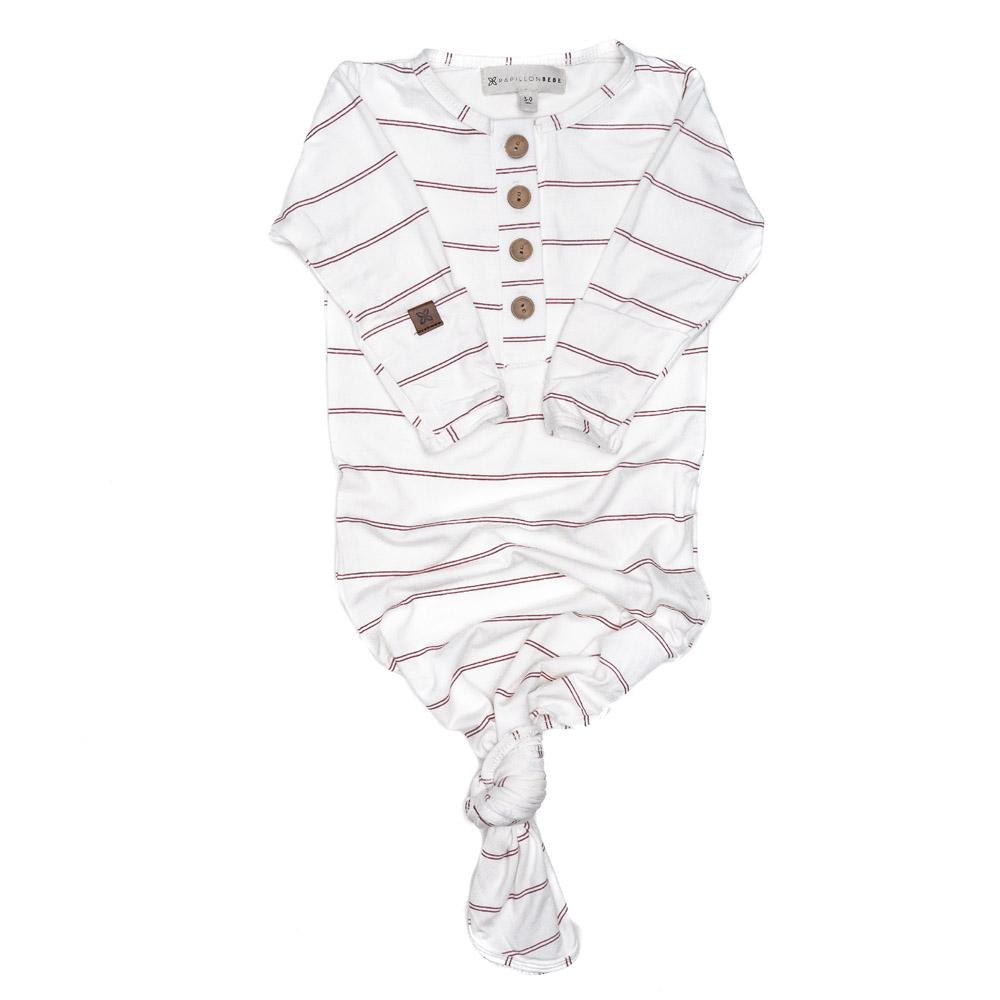 Papillonbebe Knotted Gown - Striped Rose