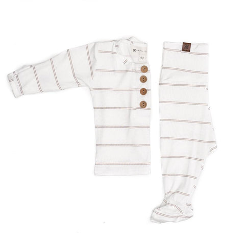 Papillonbebe Top + Bottoms - Striped Fawn