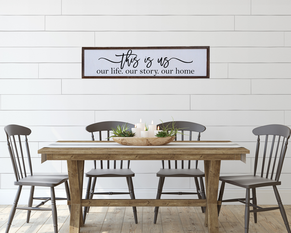 """This Is Us - Our Story Our Life Our Home"" - Made in USA Wooden Wall Hanging"