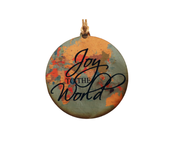 """Joy To The World"" - Made in USA Wooden Ornament"