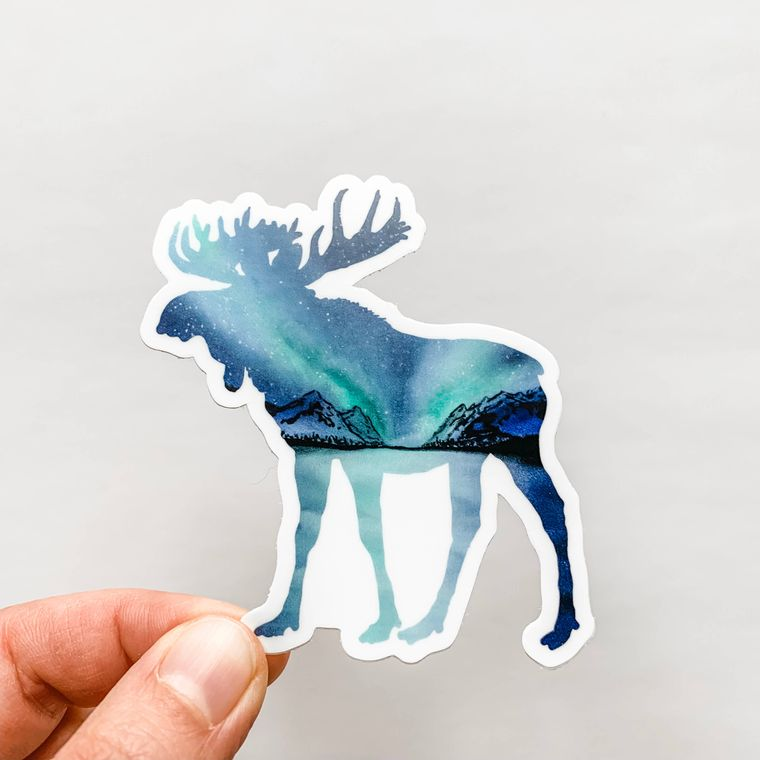 Moose Northern Lights Sticker