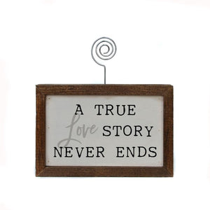 """A True Love Story Never Ends"" - Made in USA Wooden Picture Block"