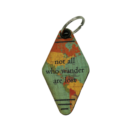 """Not All Who Wander Are Lost"" - Made in USA Wooden Keychain"