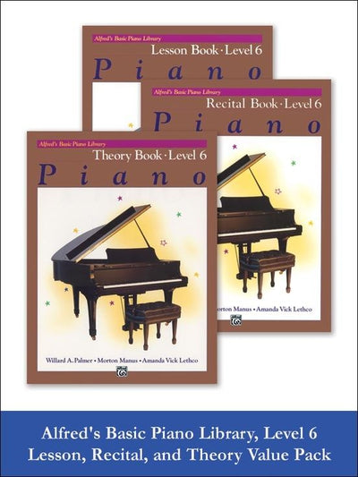 Alfred's Basic Piano Value Pack -  Lesson, Recital, and Theory Book Level 6