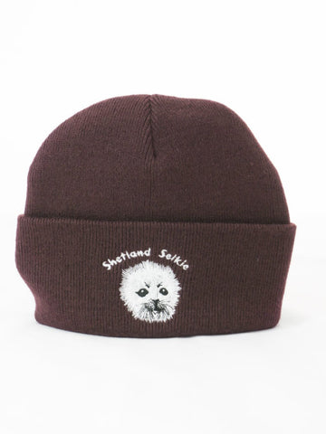 Cuffed Beanie with Seal Embroidery