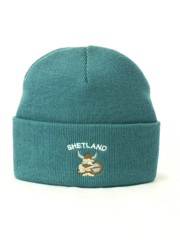 Cuffed Beanie with Cute Viking Embroidery