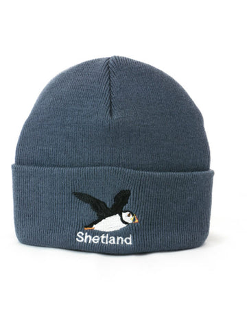 Cuffed Beanie with Flying Puffin Embroidery