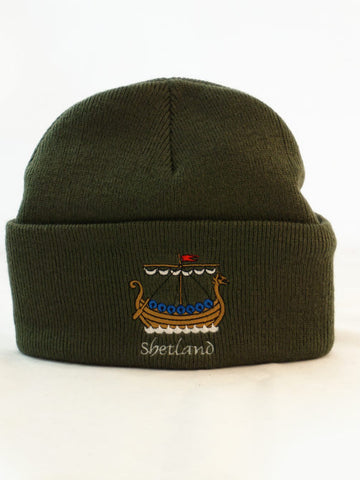 Cuffed Beanie with Galley Embroidery