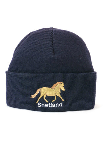 Cuffed Beanie with Shetland Pony Embroidery