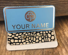 The WoggleMakers Guide Name Badge Light Blue Made to order GirlGuide Leather pin Badge - Personalise Your Own Guide Name Badge - FREE P&P