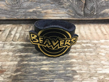 The WoggleMakers Scout Woggle Black Beaver Scout Leather Woggle - Fun Beaver Scout Woggle with gold print - £2.50 FREE P&P