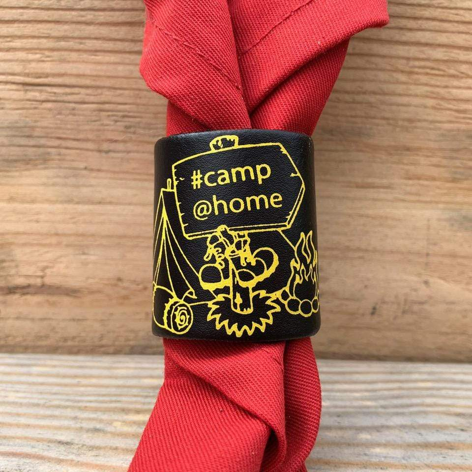 The WoggleMakers Scout Woggle Brown Leather/Yellow Print #Camp@Home Limited Edition 2020 Leather Scout Woggle.