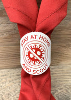 The WoggleMakers Scout Woggle White with Red Print 'Stay at Home and Scout' Limited Edition 2020 Leather Scout Woggle.