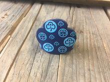 WoggleWorld Woggle Dark blue with blue print Leather Girlguide Woggle - Trefoil Fun Woggle £2.50 - FREE P&P