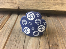 WoggleWorld Woggle Dark Blue with White print Leather Girlguide Woggle - Trefoil Fun Woggle £2.50 - FREE P&P