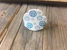 WoggleWorld Woggle White with blue print Leather Girlguide Woggle - Trefoil Fun Woggle £2.50 - FREE P&P