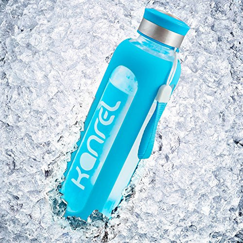 Glass Gym Bottle by Kanrel 20oz (Blue)