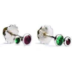 green-red-stone-stud-earrings